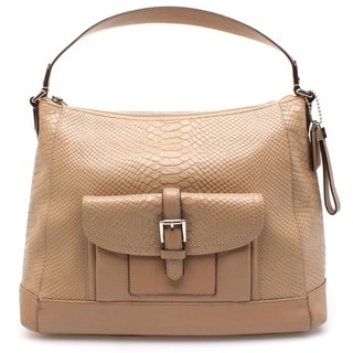 Coach Charlie Python Leather Hobo Tote Shoulder Handbag