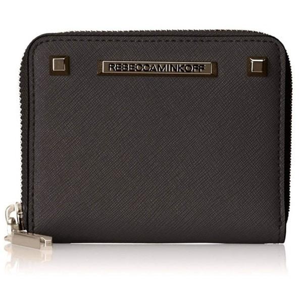 Rebecca Minkoff Saffiano Mini Ava Zip Wallet - Black