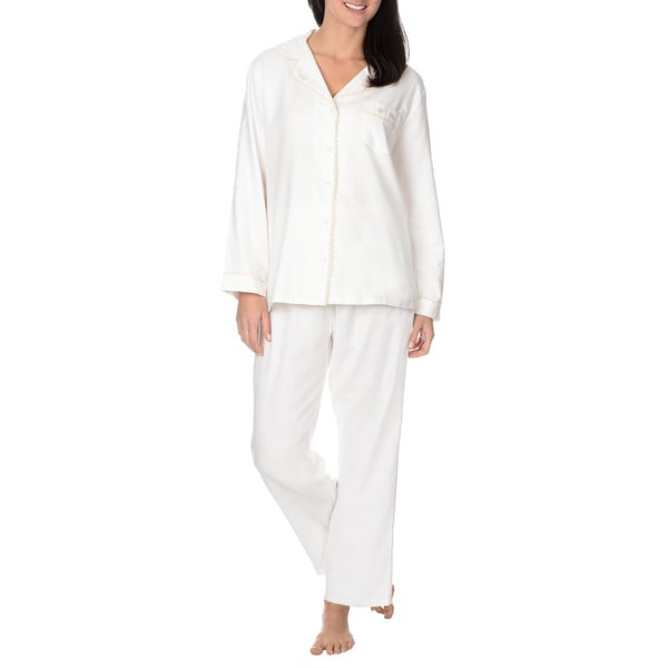 La Cera Women's Brushed Cotton 2-piece Pajama Set (As Is Item)