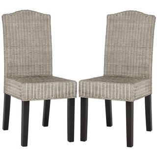 """Safavieh Dining Rural Woven Odette Antique Grey Wicker Dining Chairs (Set of 2) - 17.3"""" x 22"""" x 38.5"""""""