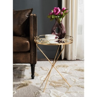 Safavieh Cherris Antique Gold Leaf Round End Table