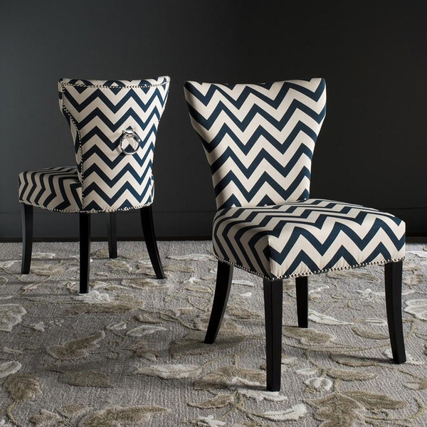 Safavieh Jappic Navy/ White Ring Side Chairs (Set of 2)