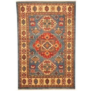 Herat Oriental Afghan Hand-knotted Tribal Kazak Light Blue/ Ivory Wool Rug (2'8 x 4'1)