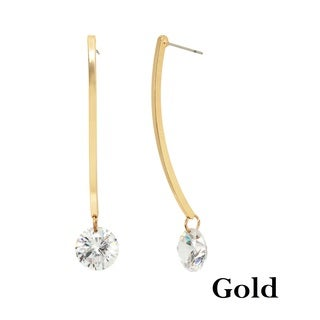 Alexa Starr Square A Wire with Cubic Zirconia and Goldtone Drop Earrings