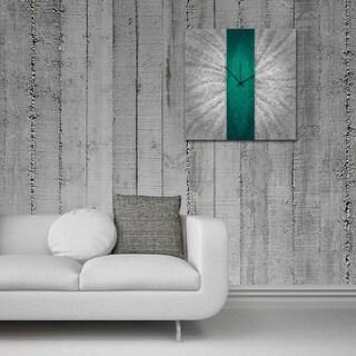 Metal Art Studio 'Teal Stripe Clock' Contemporary Grey & Turquoise Metal Wall Decor
