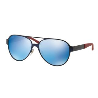 Tory Burch Women's TY6044 Blue Metal Pilot Sunglasses