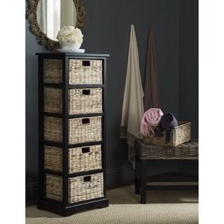 Safavieh Vedette Distressed Black 5-drawer Wicker Basket Storage Tower