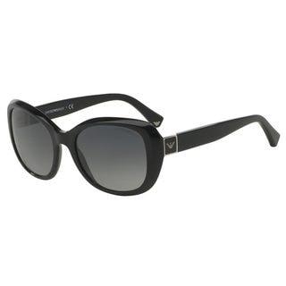 Emporio Armani Women's EA4052 Black Plastic Square Polarized Sunglasses