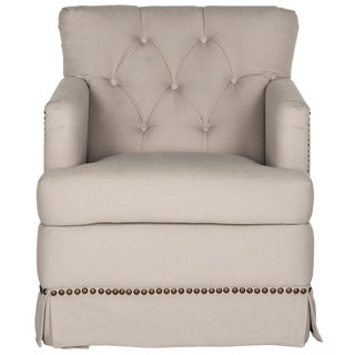 Safavieh Millicent Taupe Linen Swivel Accent Chair