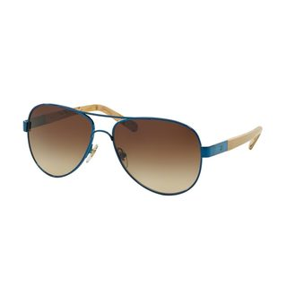 Tory Burch Women's TY6010 Navy Metal Pilot Sunglasses