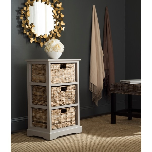 Safavieh Halle Vintage Grey 3-Drawer Wicker Basket Storage Unit