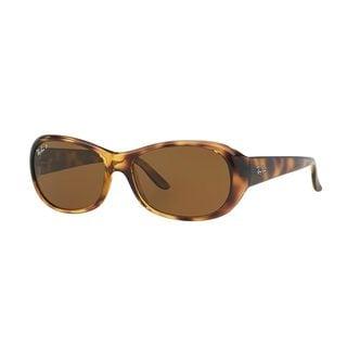 Ray-Ban Women's RB4061 Tortoise Plastic Oval Polarized Sunglasses