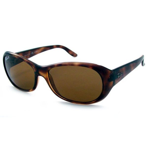 Ray-Ban Women's RB4061 Tortoise Plastic Oval Polarized Sunglasses