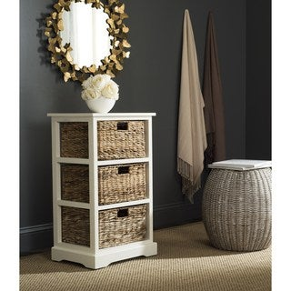 Safavieh Halle Distressed White 3 Wicker Basket Storage Unit