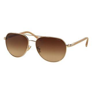 Coach Women's HC7053 Gold Metal Pilot Sunglasses