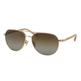 Coach Women's HC7053 Gold Metal Pilot Polarized Sunglasses