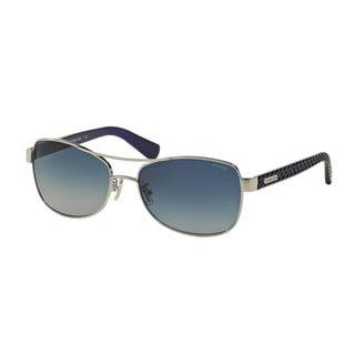 Coach Women's HC7054 Silver Metal Pilot Sunglasses