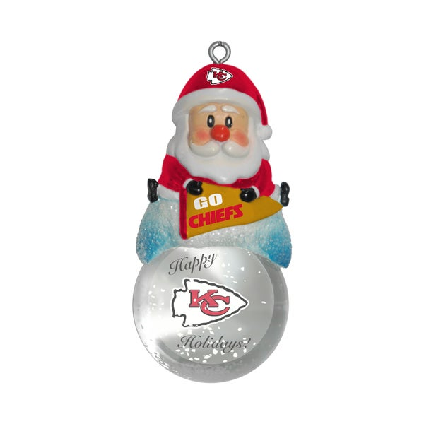 Kansas City Chiefs Santa Snow Globe Ornament