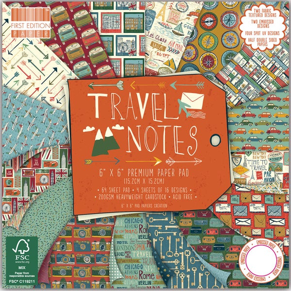 "First Edition Premium Paper Pad 6""X6"" 64/Pkg-Travel Notes"