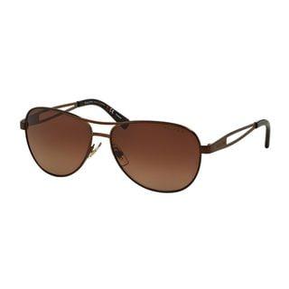 Ralph by Ralph Lauren Women's RA4115 Brown Metal Pilot Polarized Sunglasses