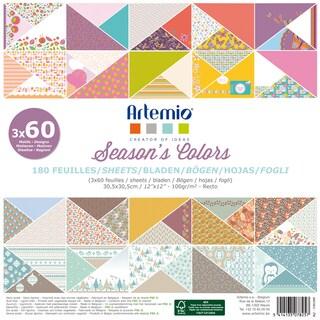 """Artemio Season's Colors Papers 12""""X12"""" 180/Pkg-3 Each Of 60 Designs"""