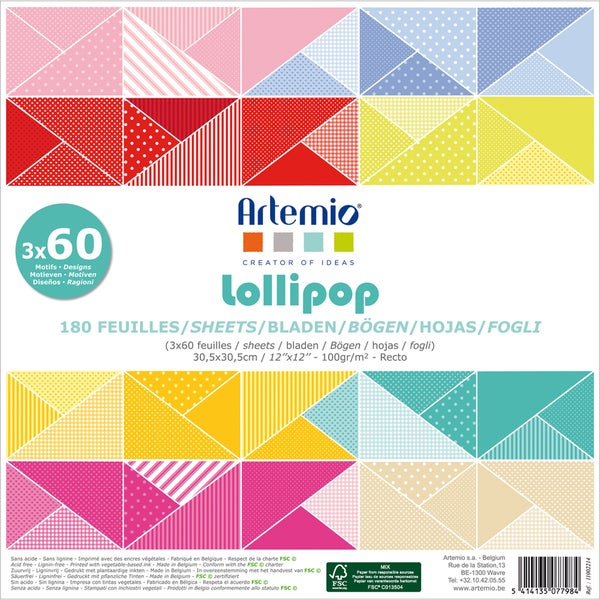 "Artemio Lollipop Papers 12""X12"" 180/Pkg-3 Each Of 60 Designs"