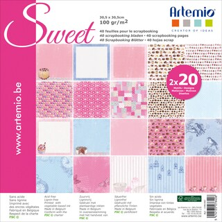 "Artemio Sweet Papers 12""X12"" 40/Pkg-2 Each Of 20 Designs"