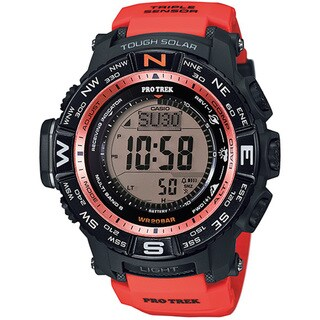 Casio Men's PRW-3500Y-4CR Atomic Black Digital Watch with Red Resin Band