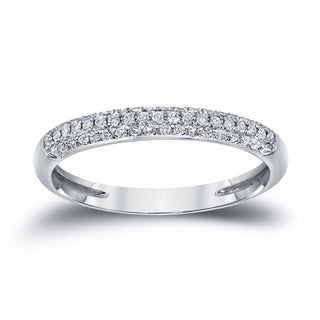 Auriya 14k White Gold 3/4ct TDW Round Diamond Pave Wedding Band (H-I, I1-I2)