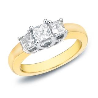 Auriya 14k Two-Tone Gold 3/4ct TDW 3-Stone Princess Cut Diamond Ring (J-K, VS1-VS2)