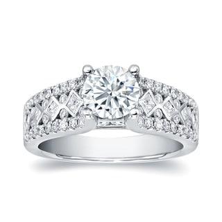 Auriya 14k White Gold 2ct TDW Round Cut Diamond Engagement Ring (H-I, I1-I2)