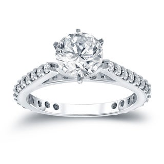 Auriya 14k White Gold 1ct TDW Round-Cut Diamond Engagement Ring (J-K, SI1-SI2)
