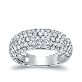 Auriya 14k White Gold 2ct TDW Round Cut Diamond Multi-Row Pave Ring (H-I, I2-I3)