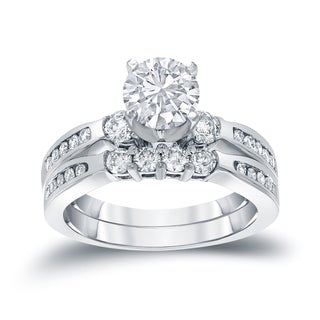 Auriya 14k Gold 1ct TDW Round Cut Diamond Bridal Ring Set (J-K, I1-I2)
