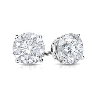 Auriya 14k Gold 1/2ct TDW 4-Prong Push-Back Round Diamond Stud Earrings (H-I,SI2-SI3)