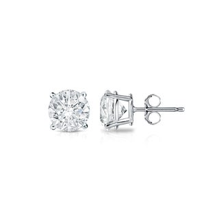 Auriya 18k Gold 1/3ct TDW 4-Prong Push-Back Round Diamond Stud Earrings (H-I,SI2-SI3)
