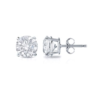 Auriya 18k Gold 1/2ct TDW 4-Prong Push-Back Round Diamond Stud Earrings (H-I,SI2-SI3)