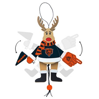 Chicago Bears Wooden Cheering Reindeer Ornament