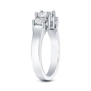 Auriya 14k White Gold 2ct TDW 3-Stone Princess-Cut Diamond Ring (J-K, SI1-SI2)