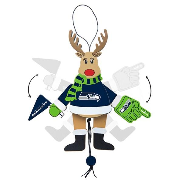 Seattle Seahawks Wooden Cheering Reindeer Ornament