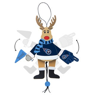 Tennessee Titans Wooden Cheering Reindeer Ornament