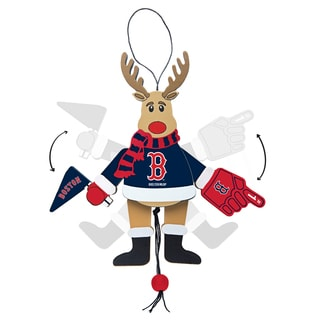 Boston Red Sox Wooden Cheering Reindeer Ornament