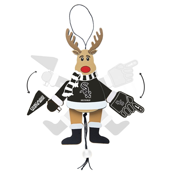 Chicago White Sox Wooden Cheering Reindeer Ornament