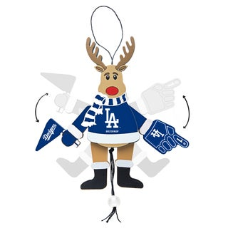 Los Angeles Dodgers Wooden Cheering Reindeer Ornament