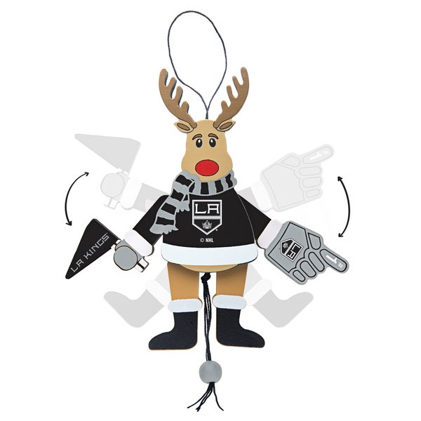 Los Angeles Kings Wooden Cheering Reindeer Ornament