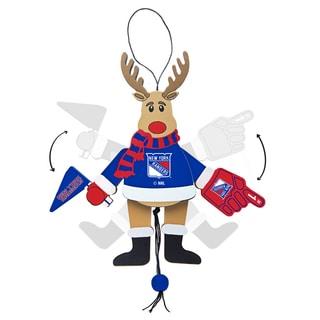 New York Rangers Wooden Cheering Reindeer Ornament
