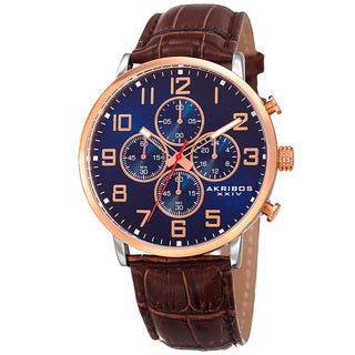 Akribos XXIV Men's Japanese Quartz Chronograph Leather Strap Watch