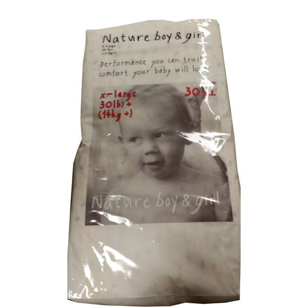Nature Boy and Girl Extra Large Disposable Diapers (Pack of 30)