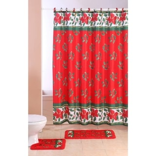 15-piece Holiday Bath Set Christmas Mistletoe Shower Curtain