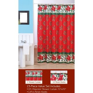 Christmas Mistletoe Shower Curtain with Matching Hooks